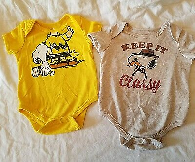 Snoopy Peanuts Charlie Brown Baby Bodysuits- Comic Strip Short Sleeve- 3-12 m