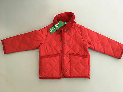 Girls Age 1 Benetton Red Quilted Jacket Coat New With Tags
