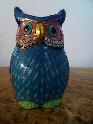 Vintage Cloisonne Owl Figurine,just Under 4 In.tall,reduced!