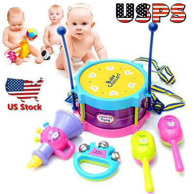 5pcs Kids Baby Roll Drum Musical Instruments Band Set Package Children Toy Gifts