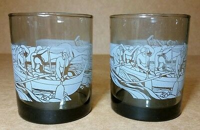 McDonald's Hawaii Drinking Glasses (2) Matching Set Smoked Glass 12ozs