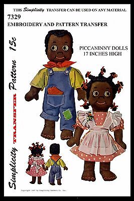 "17"" Cute Black Americana Dolls Boy and Girl PICCANINNY Toy Simplicity # 7329 Vin"