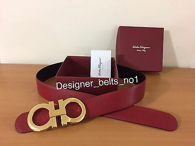 New Salvatore Ferragamo Red/black Reversible Belt Size 95cm Waist 32-34
