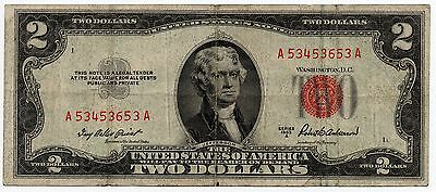 $2 1953-A series Red Seal United States Note Legal Tender Fr. 1510 #726