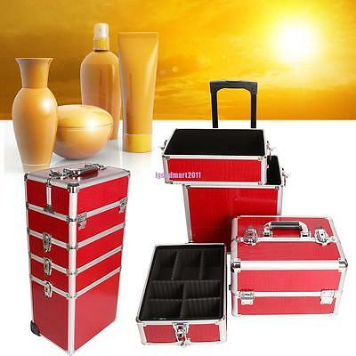 4 in 1 Aluminium Makeup Vanity Case Cosmetics Nail Hairdressing Box Trolley Case