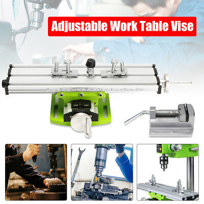 Milling Machine Drill Press Vise Fixture Clamp + Bench Drill Sliding Work Table