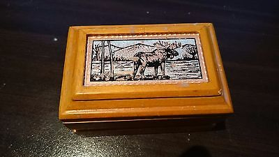 Small wooden Trinket box with moose picture