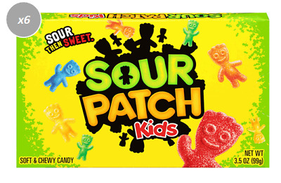 903268 6 x 88g THEATRE BOXES OF SOUR PATCH KIDS SOFT & CHEWY CANDY, BERRIES! USA