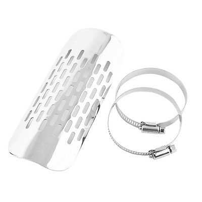 Motorcycle Motorbike Exhaust Muffler Pipe Heat Shield Cover Guard Silver Metal