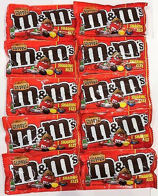 903269 10 x 80.2g PACKETS OF PEANUT BUTTER M&M'S, CHOCOLATE CANDIES! U.S.A.