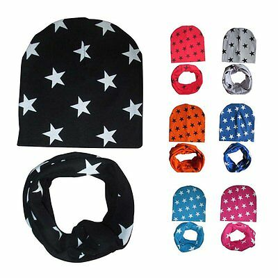 Toddler Kids Baby Boys Girls 2Pcs Winter Warm Soft Cotton Hat Cap+Scarf Scarves