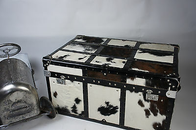 Beautiful Cow Skin Leather & Chrome Trunk Chest