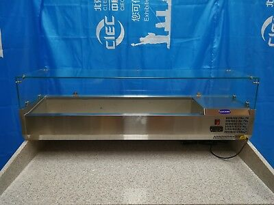 VRX1200/330 1.2m Stainless Steel 5x1/4GN Size PREP TOP with Glass top