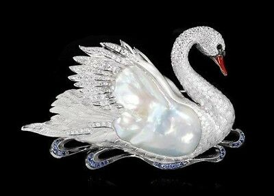 MOUSSON BROOCH SWAN 18K W/Gold Baroque Pearl Diamonds Sapphires Enamel BRAND NEW