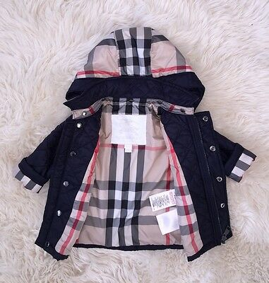 New Authentic Burberry Blue Check Kids Infant Baby Boy Girl Coat Jacket 3M 6M