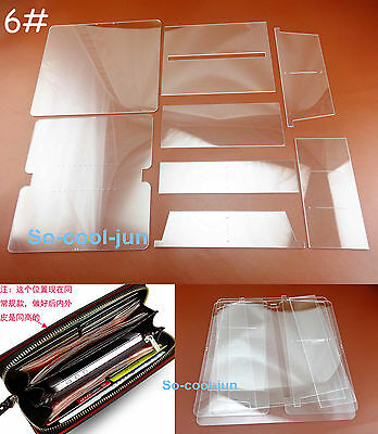 8pcs Leather Craft Acrylic Perspex Long WalletPattern Stencil Template Tool Set