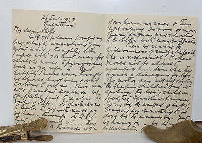 Original Hand Written Letter from William Moorcroft 1939 Signed Golf pottery