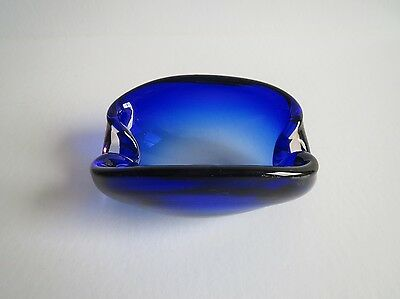 Vintage 70s cobalt blue art glass bowl dish ashtray- Murano style