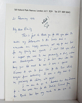Original Hand Written Letter from P D James Signed Crime Lords 1991