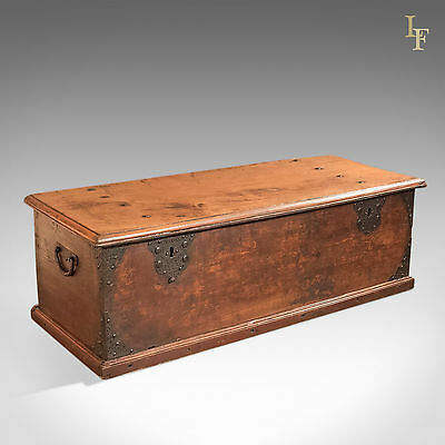 Antique Chest, Colonial Hardwood Trunk, Early 19th Century, Large, Coffer