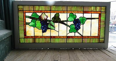 Antique Stained Glass Window With Grapes