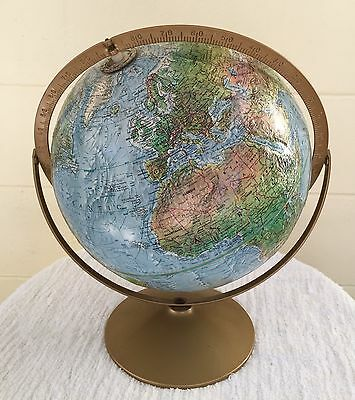 "Vintage 1979  Replogle 12"" Land and Sea Globe  USSR Tolman Cartographer"