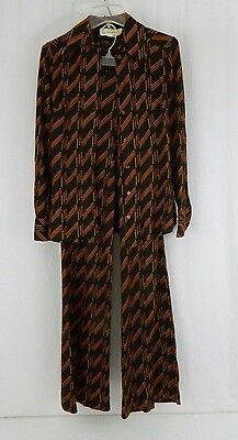 Diane Von Furstenberg Saks Vintage 1970's Brown Striped Blouse Pants Set Small