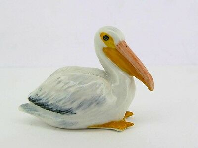 Handmade Miniature Collectible Ceramic Porcelain Pelican Bird FIGURINE