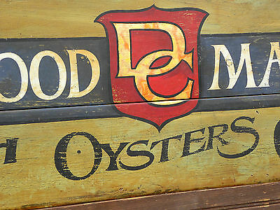 DC Seafood Market Sign painted  vintage looking original art wooden fish oysters