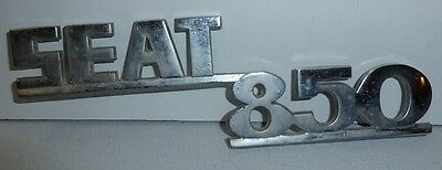 SEAT 850 monogramme metal chrome 18cms insigne badge embleme