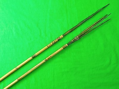 Antique Old Africa African 19 Century Set of 2 Spear Spears