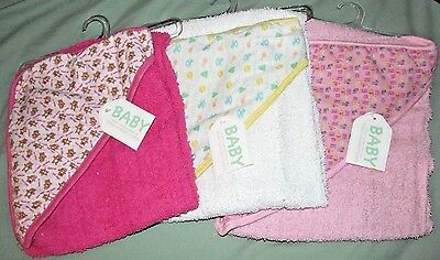 LOT 3 Baby Girl Terry Hooded Bath Towels Pink Shower Gift Newborn NEW! Infant