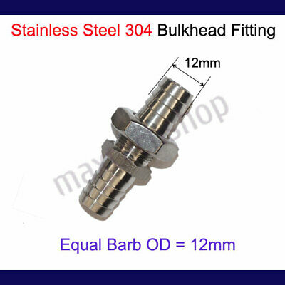 """12mm 1/2""""  Stainless Steel 304 Bulkhead Fitting Hose Barb Mender Fuel Water Boat"""