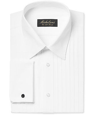 $277 MICHELSONS Men CLASSIC-FIT FRENCH-CUFF WHITE TUXEDO DRESS SHIRT 17.5 32/33