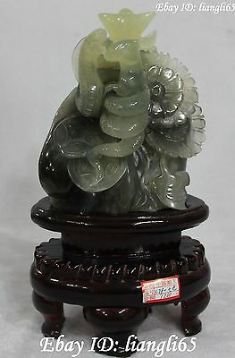 "11""China Natural Green Jade wealth Zodiac Year Animal Snake Mouse Yuanbao Statue"