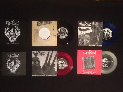"WRETCHED Libero e Selvaggio Box Set 7"" Vinyl Hardcore Punk Indigesti Declino"