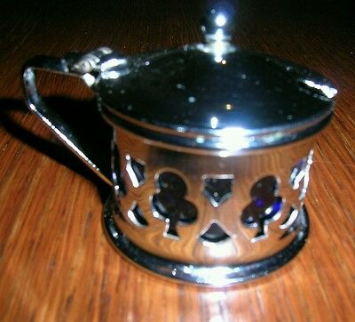 Vintage silver plate mustard pot condiment with Blue glass liner and club detail