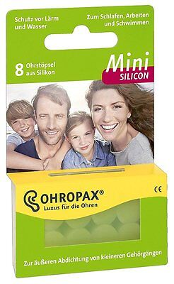OHROPAX Mini Silicon Ear Plugs for Children/Adults with Small Ear Canals 8 Plugs