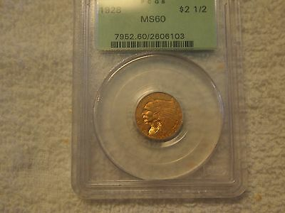 1928 Indian Head Gold $21/2   - PCGS MS60 - Certified & Graded Old Green Holder