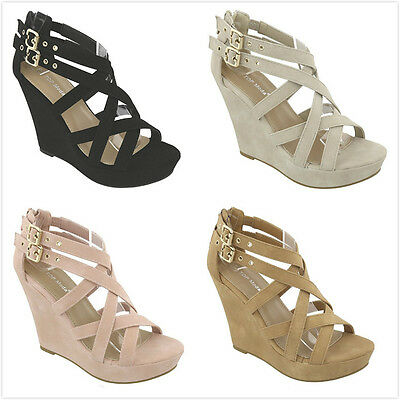 Brand New Women's Gladiator Strappy High Heel Platform Wedge Pumps Sandals Shoes