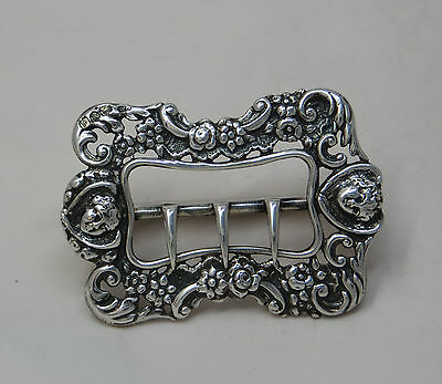 Antique Victorian Silver Buckle Decorated With Cherub's Heads & Flowers Maker Gh