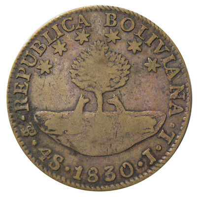 1830 Bolivia 4 Soles Silver - free shipping