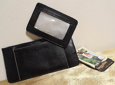 BAGGALLINI Black Genuine Leather Credit Card Stacker Caddy Wallet w/ID Slot NWT