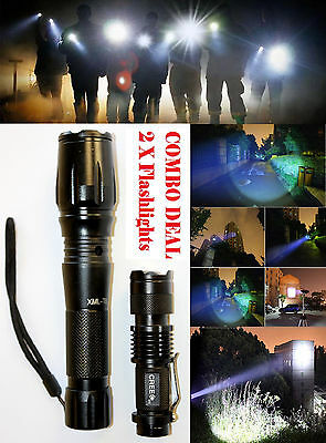 2PCS COMBO Zoomable XML-T6 3000Lumen Ultra 6000k LED Flashlight Focus Torch Lamp