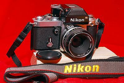 Nikon F2 Photomic 35mm SLR chrome/silver body with DP-1 finder/prism and 50 MM f
