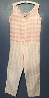 RUDI GERNREICH for L'Intrigue Jumpsuit Pink White Stripe Checked SIZE M 1960s