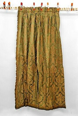 Pair of Green and Gold Silk Damask Drapes