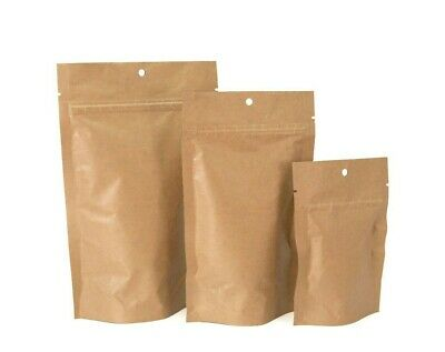 Stand-Up Pouch Bag -  Kraft Exterior / Barrier Food Product Packaging, 100pcs