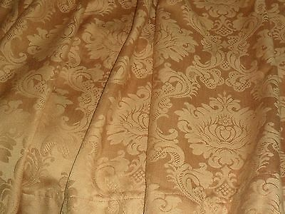 Vintage  French Pair Gold  Damask Curtains.medalions.unlined.