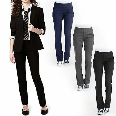 Kids Girls Slim Fit Trousers Leg School Uniform Pants Pull Up Bottoms 3-16 Years